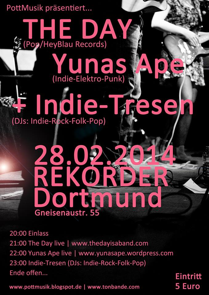 Pottmusik live: THE DAY & YUNAS APE mit Aftershow